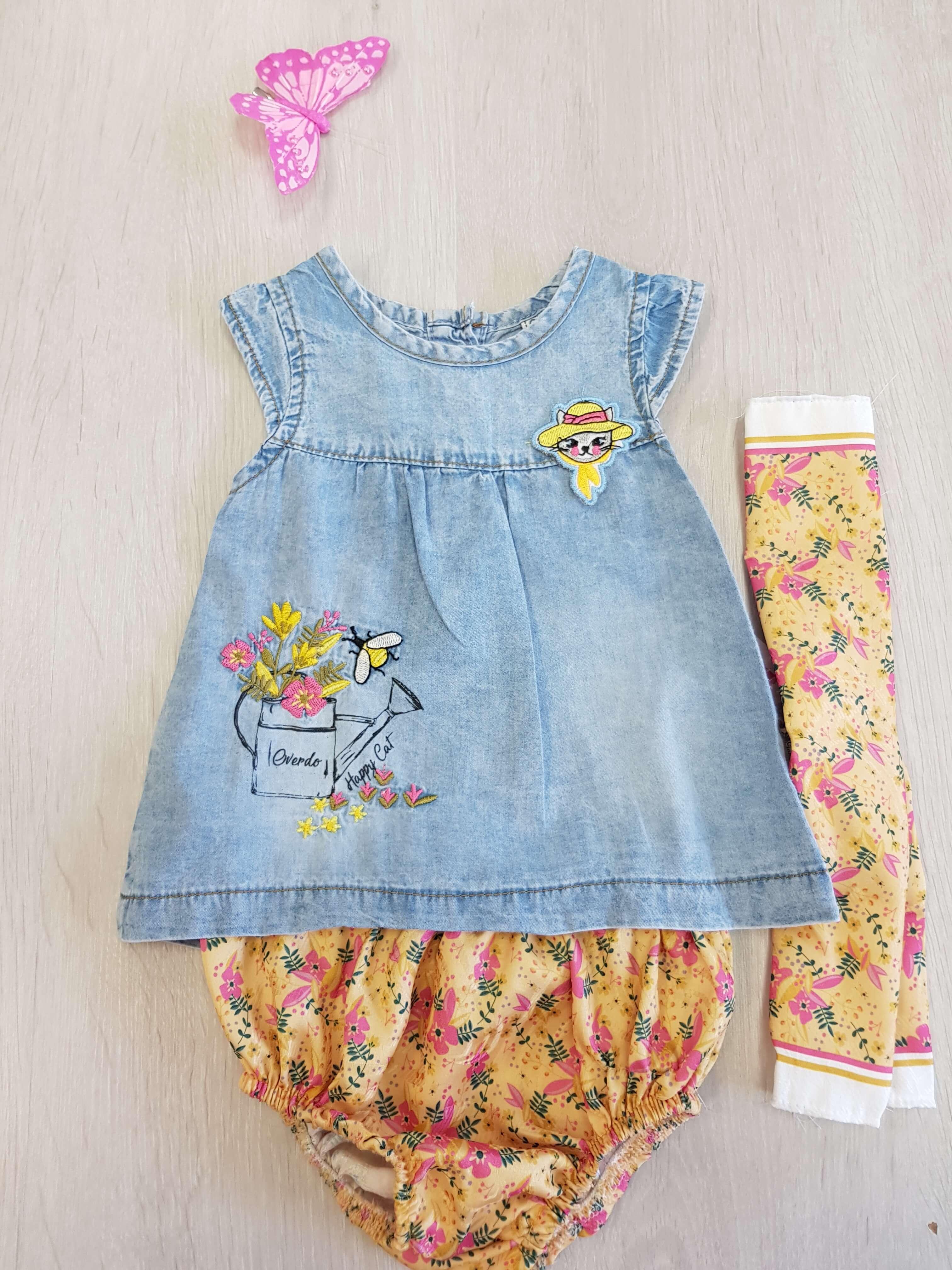 57e958ea0b Riflové šaty s gaťkami a šatkou pre dievčatko